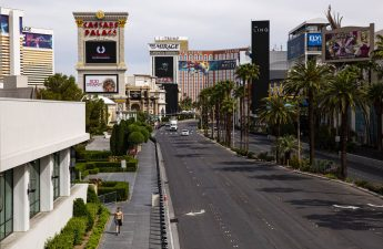A man walks along the Las Vegas Strip on Thursday, April 16, 2020. (Chase Stevens/Las Vegas Rev ...