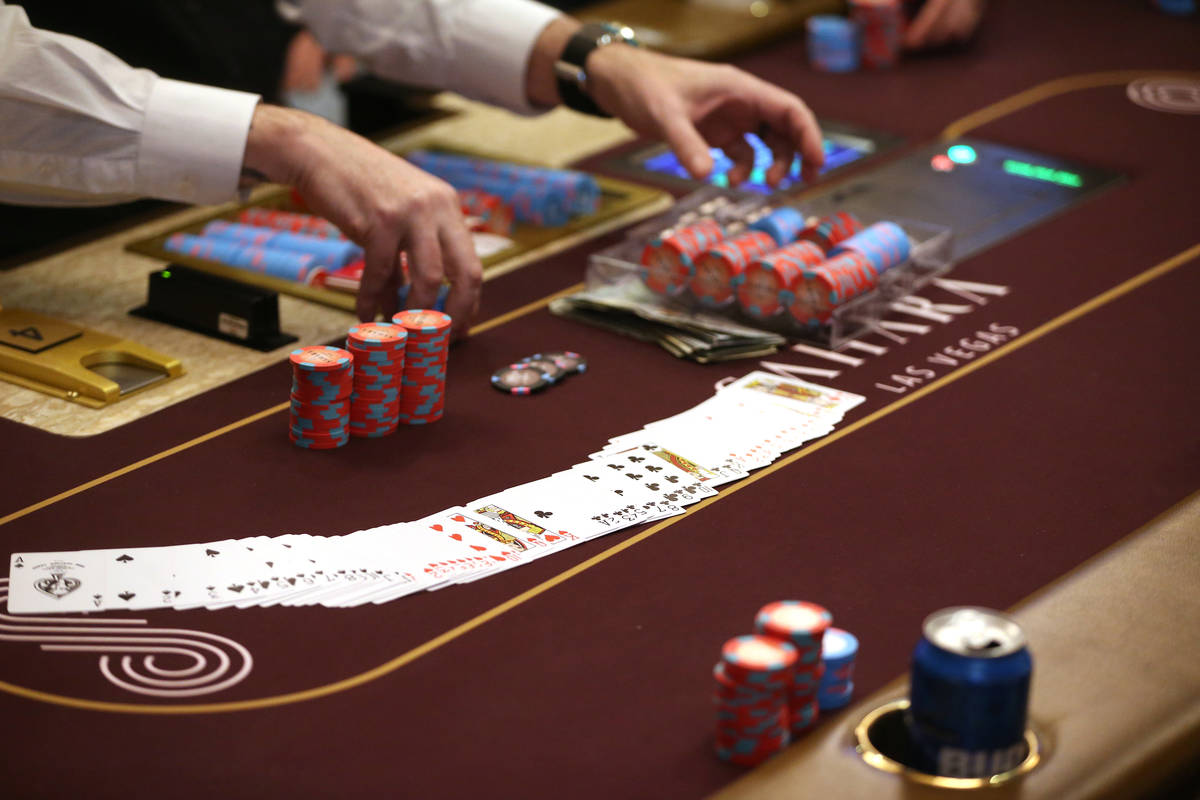 In this Feb. 21, 2020, file photo, poker chips are collected at Sahara Las Vegas casino-hotel i ...