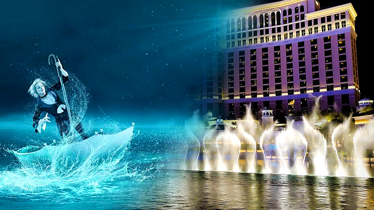 Cirque du Soleil Performer dan Bellagio Fountains Image