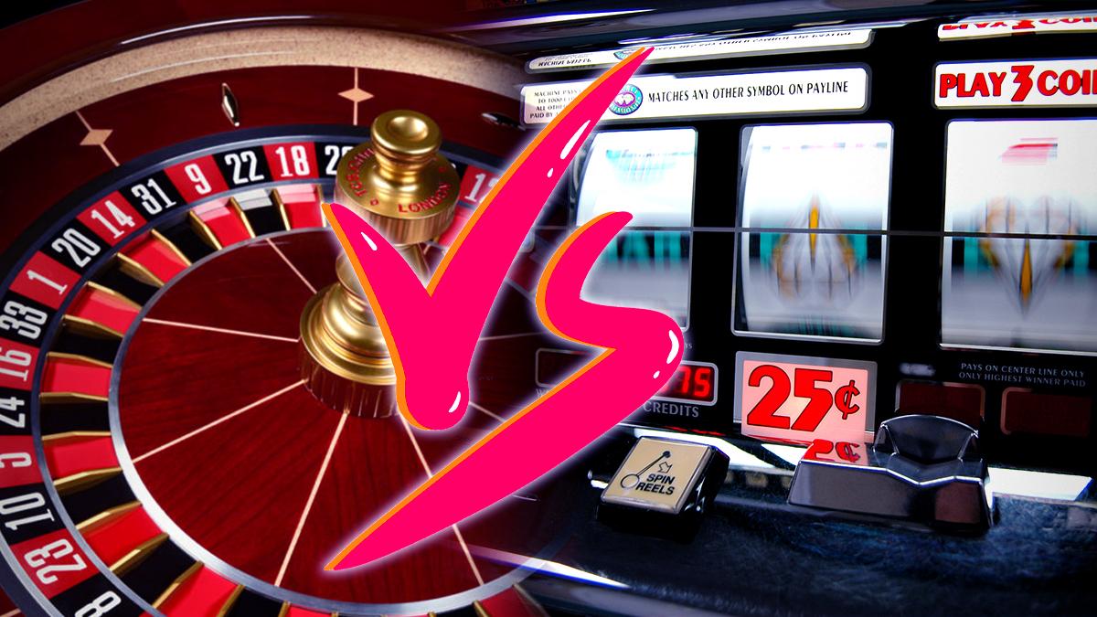 Versus Grafik Dengan Latar Belakang Roulette dan Slot