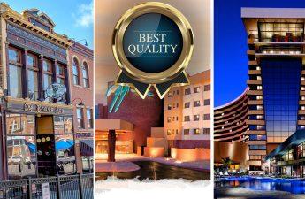 Grafik Penghargaan Kualitas Terbaik Dengan Latar Belakang Kasino