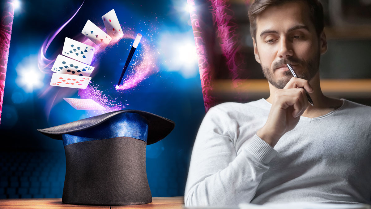 Man Contemplating dan Topi dan Kartu Tongkat Ajaib
