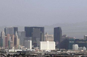 A haze hangs over the Strip as seen from Henderson on Thursday, Aug. 13, 2020, in Las Vegas.(Bi ...