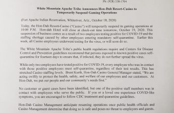 Kasino Resor Hon-dah Apache White Mountain Tutup selama Dua Minggu Karena Covid-19