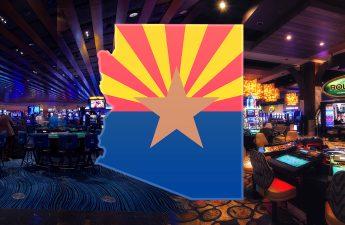 Arizona State Outline Dengan Latar Belakang Tribal Casino Floor
