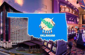 Garis Besar Negara Bagian Oklahoma Dengan Latar Belakang Kasino