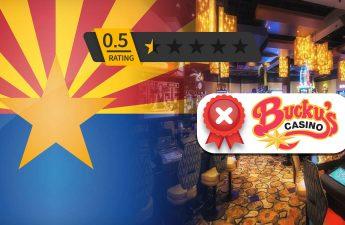 Logo Kasino Bucky Dengan Bendera Arizona dan Latar Belakang Kasino